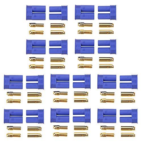 GTIWUNG 10 Paar EC5 Bananenstecker Weiblich Maennlich Rundstecker, EC5 5mm Anschlussstecker + Buchse Set Goldstecker Für RC ESC Akku LIPO Motor