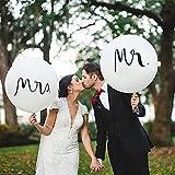 Globos de boda, 2 unidades de 36 pulgadas, MR & MRS, globos gigantes de látex, color blanco, globos para decoración de boda, fiesta