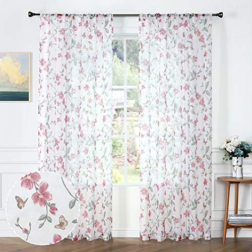 Tollpiz Sheer Floral Curtains Pink Flower Butterfly Printed Living Room Curtain Rod Pocket Voile Faux Linen Window Curtains for Bedroom, 54 x 72 inches Long, Set of 2 Panels