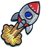 Retro Rocket Science Fiction Comics DIY Embroidered Applique Iron-on Patch S-1639