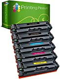 Printing Pleasure 203X 5 x Tóner Compatible con HP Laserjet Pro M254 dw/NW MFP M280 NW MFP M281 fdn/fdw | CF540X 3200 páginas CF541X CF542X CF543X 2500 páginas