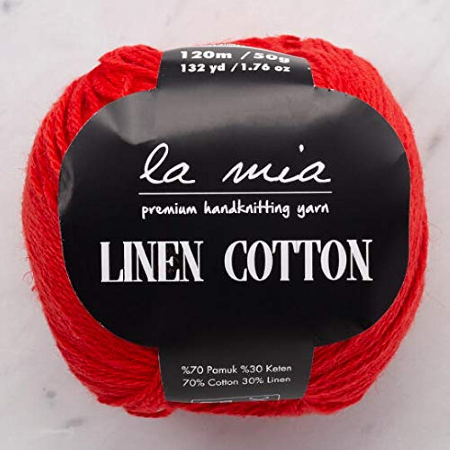 6 Ball (Pack) La Mia Linen Cotton, Total 10.58 Oz. 70% Cotton, 30% Linen, Each 1.76 Oz (50g) / 132 Yrds (120 m), 3 Light DK, Red - L004 yhjqqhbndjdv