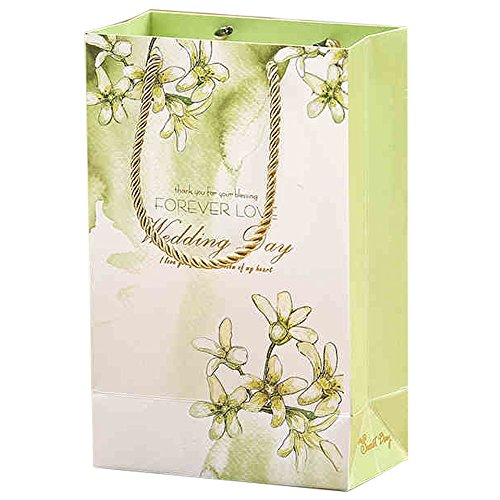 20 Pezzi Wedding Bag Sweet Love Con Manico Regalo Ospiti Tema Naturale (Verde)