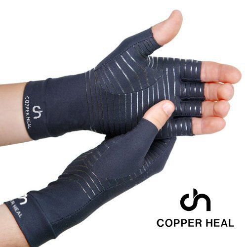 COPPER HEAL Arthritis Compression Gloves - Best Medical Copper Glove Guaranteed to Work for Rheumatoid Arthritis, Carpal Tunnel, RSI Osteoarthritis & Tendonitis Open in Fingers Fingerless Fit Size M