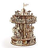 UGEARS Puzzles Carrusel Modelo mecánico-Rompecabezas Adultos De Madera Kits de construcción 3D Carousel (70129)