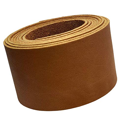 TOFL Leather Strip 2 Inches Wide and 72 Inches Long and 1/16 inch (4-5 oz) Thick (Tan, 2