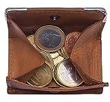 Hill Burry Leder Münzbörse | Wiener Schachtel aus echtem Leder | Geldbörse mit Kleingeldschütte - Slim Wallet | Leder Minigeldbörse - Münzen Portmonee (Braun)