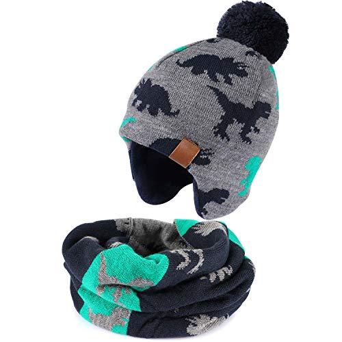 Tacobear Junge Wintermütze Winterschal Strickmütze Beanie Ohrenschützer Hut und Schal für Kinder Mädchen (Dinosaurierhut + Dinosaurierschal, 4-7Jahr)