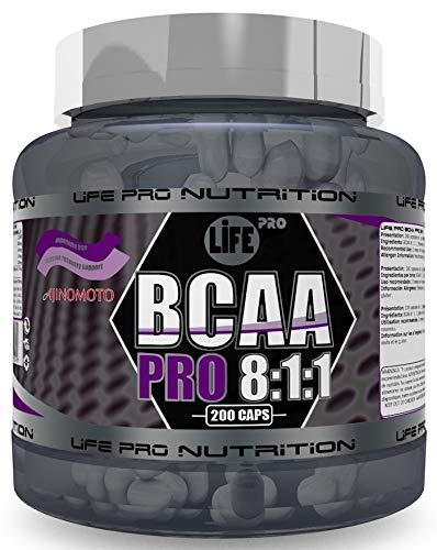 Life Pro BCAA Pro 8:1:1 1000mg Ajinomoto 200 Cápsulas | Suplemento con Aminoácidos de Cadena Ramificada, Leucina, Valina e Isoleucina