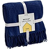 RECYCO Throw Blanket for Couch Navy Blue Waffle Throw Blanket Lightweight Soft Cozy Bed Decor Travel Blanket with Tassels for Living Room 50'x60'