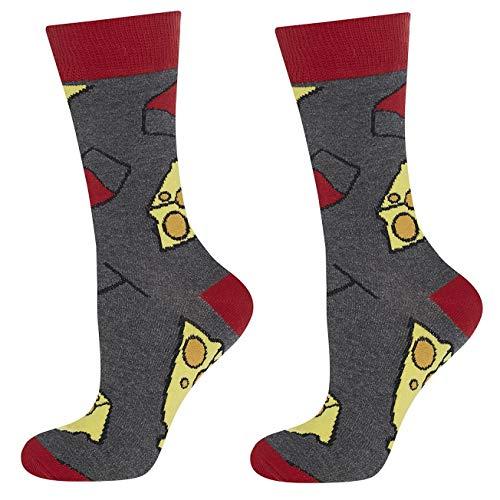 soxo Damen oder Mädchen Socken | 11 Lustige Verschiedene Motive | Lange Söckchen für Frauen | Grössen 35-40 (Käse und Wein)