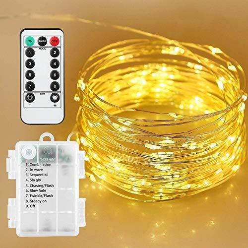 AGM Stringa Luci LED a Batteria con Telecomando, Led Stringa Luminosa 33 ft 100 Leds 8 Modalità Catena Luminosa Luminosa Decorative per Camere da Letto Giardino Casa Feste Natale Matrimonio