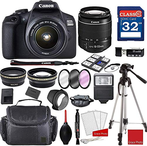 Canon EOS 2000D Rebel T7 Kit with EF-S 18-55mm f/3.5-5.6 III Lens + Professional Accessory Bundle