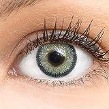 GLAMLENS lentillas de color -gris Viola Grey + contenedor. 1 par (2 piezas) - 90 Días - Sin Graduación - 0.00 dioptrías - blandos - Lentes de contacto grises de hidrogel de silicona