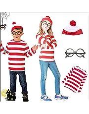 ハロウィン コスプレ ウォーリー コスチューム ウォーリーを探せ ハロウィン 衣装 Where's Wally tシャツ/帽子/メガネ/ストッキング付 4点セット 仮装 大人 ハロウィン 文化祭 親子衣装