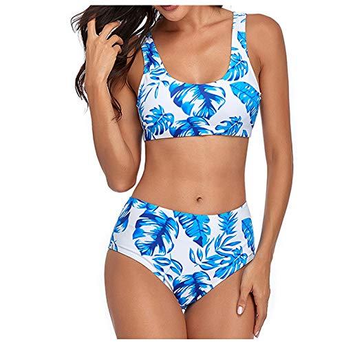 BIBOKAOKE Traje de baño para mujer con correa ancha para el hombro, estampado multicolor, cintura alta, bañador para playa, traje de baño de dos piezas