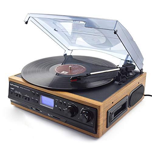 WUBAILI Reproductor de Discos de Vinilo Bluetooth Vintage, CD/FM Radio U Disco Tarjeta SD LP Reproductor de Discos multifunción de Audio Retro, Adornos para Sala de Estar