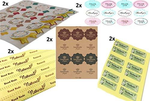Wantek - Etiquetas Adhesivas Hechas a Mano, para Regalos, mermeladas, mermeladas, tarros de conservas, jabón, Velas, día de la Madre (60 Unidades)