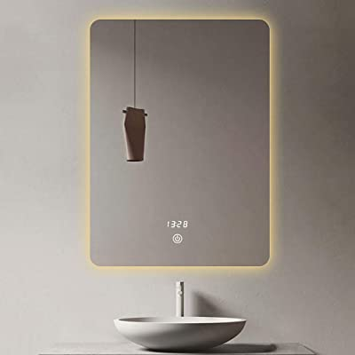 N / A Bathroom Mirror with Lights, LED Bathroom Wall Mounted Mirror, Anti-Fog Circle and Smart Touch Button Makeup Mirror with Lights