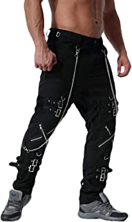 KLJR Men Pocketed Patch Buckle Gothic Casual Zipper Up Punk Rock Pants