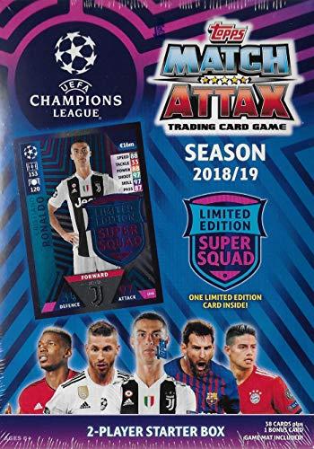 Match Attax 2018 2019 Topps UEFA Champions League Fußball-Sammelkartenspiel versiegelt für zwei Spieler Starterbox mit 38 Karten und Spielmatte plus Cristiano Ronaldo Super Squad Karte