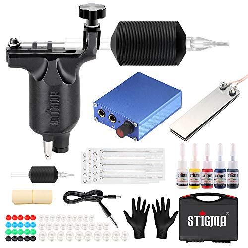 Stigma Kit De Tatouage Complet Kit De Machine à Tatouer Rotatif Pro 1 Machine à Moteur Source De Courant 7 Encres Couleur Avec étui MK648-1