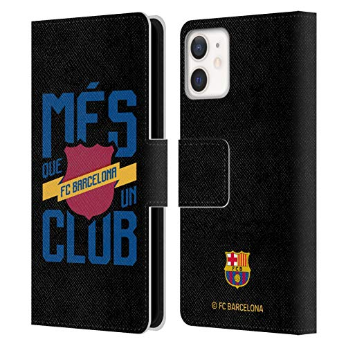 Head Case Designs Oficial FC Barcelona Més Que Un Club 2019/20 Culé Carcasa de Cuero Tipo Libro Compatible con Apple iPhone 12 Mini