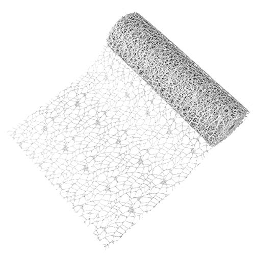 KI Store Wide Christmas Mesh Ribbon 11 Inch X10 Yards Silver Glittered Ribbons for Christmas Tree Decorations Wreath Garland Gift Wrap