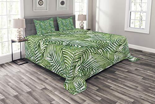 ABAKUHAUS Blatt Tagesdecke Set, Botanischer Wilde Palmen, Set mit Kissenbezügen Kein verblassen, für Doppelbetten 220 x 220 cm, DunkelGrün & Waldgrün