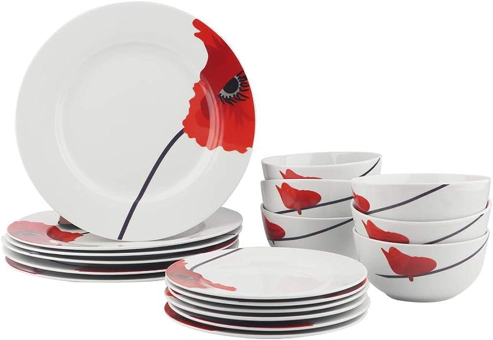 Amazon basics - servizio di piatti  per 6 persone, 18 pezzi , in porcellana 140609
