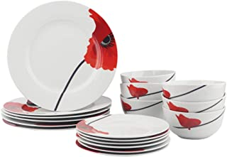 AmazonBasics 18-Piece Kitchen Dinnerware Set, Dishes, Bowls, Service for 6, Poppy