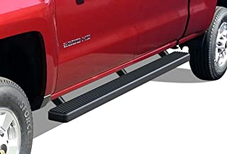 APS iBoard (Black Powder Coated 4 inches) Running Boards Nerf Bars Side Steps Step Rails Compatible with 2001-2013 Chevy Silverado GMC Sierra 1500 Crew Cab & 2001-2014 2500 3500 (Exclude CK Classic)