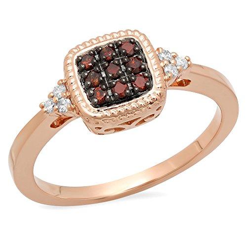 Damen Ring 0.20 Karat 14 Karat Rose Gold Champagne & Diamant Verlobungsring 1/5 Karat