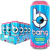 Bang Rainbow Unicorn Energy Drink, 0 Calories, Sugar Free with Super Creatine, 16 Fl Oz (Pack of 12)