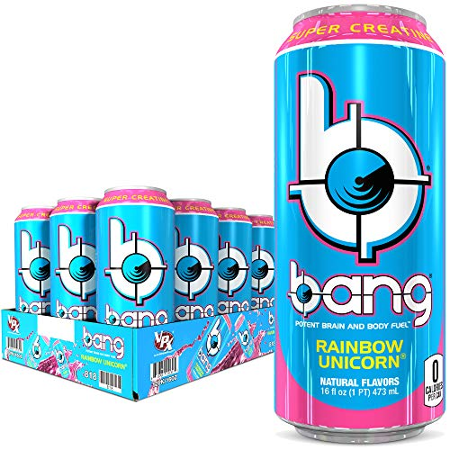 Bang Rainbow Unicorn Energy Drink 0 Calories Sugar Free with Super Creatine 16oz 12 Count