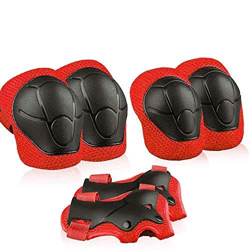 Xiaoai - Juego de rodilleras y coderas para niños, Rojo