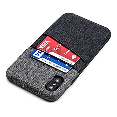Dockem Luxe iPhone X Card Case - Minimalist Synthetic Leather Wallet Case with UltraGrip Twill Canvas Styling, Slim Professional Executive Snap On Cover with 2 Card Holder Slots