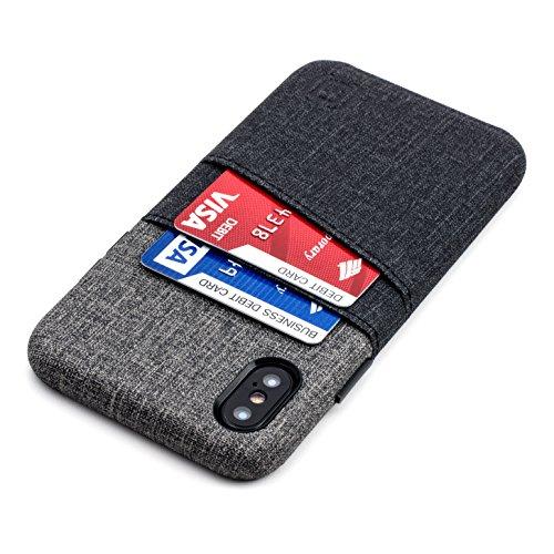 Dockem Luxe Handyhülle mit 2X Kartenfach für iPhone X/XS: Minimalistisches Kartenetui aus Ultra-griffigem Canvas-Kunstleder - Schlanke Wallet Handytasche [Schwarz/Grau]