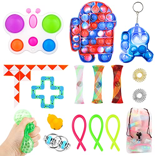 Fidget Toy Set, Cheap Sensory Toys Pack for Kids Adults, Fidget Box with Simple Dimple and Pop on it Toy, Squishy Stress Ball, and Anxiety Relief Squeeze Toys (Simple Dimple Toy Packs Among on us)