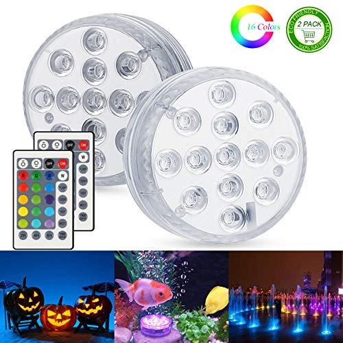 Unterwasser Licht, Zorara 2 Stück Poolbeleuchtung RGB Farbwechsel 13 LED Unterwasserlicht mit Fernbedienung IP68 Wasserdichte Teichbeleuchtung für Vase Base, Party, Weihnachten, Halloween, Schwimmbad