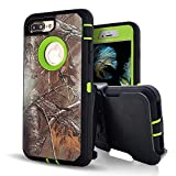 iPhone 8 Plus Case with Screen Protector,iPhone 7 Plus Protective Phone Cases for Men/Women,Vodico Camo Heavy Duty Defender Shockproof High Impact Full Body Cover with Belt Clip Holster (XGreen)