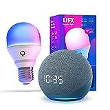 Echo Dot (4.ª generación) con reloj, Azul grisáceo + LIFX Bombilla Inteligente Color (E27), compatible con Alexa
