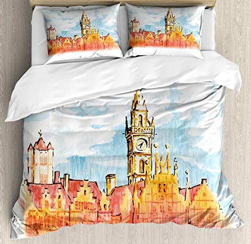 ABAKUHAUS Reizen Dekbedovertrekset, Bekijk Gent Clock Tower, Decoratieve 3-delige Bedset met 2 Sierslopen, 230 cm x 220 cm, Veelkleurig