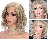 Kalyss Short Curly Wavy Blonde Lace Front Wigs for Women Side Parted Natural Looking Heat Resistant Synthetic Lace Frontal Wigs