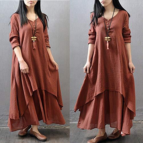 Wenhu Frühling Boho Frauen V Nekc Bauer Ethnic Baumwolle Leinen Maxi-Kleid-beiläufige Lange Hülsen-Knopf-unregelmäßiges Lange Kleid,C,L