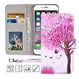 iPhone 6S Plus,6 Plus Wallet Case,MagicSky Premium PU Leather Flip Folio Case Cover with Wrist Strap, Card Holder,Cash Pocket,Kickstand for Apple iPhone 6S Plus/iPhone 6 Plus(Pink Tree)