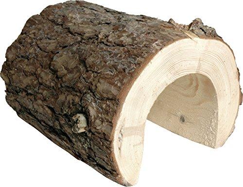 Naturbelassener Kieferntunnel aus Massivholz mit Rinde, 30 x 28 x 28 cm