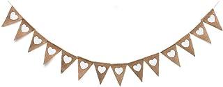 3,5 m banderines de lino boda vintage corazón yute Bunting Banner (cada cadena aprox. 3,5 m de largo). Guirnalda de yute para bodas, banderines, vintage, corazón