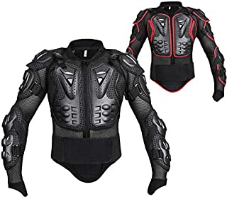 (Black) Motorcycle Armor Jacket Motocross Racer Full Body Spine Chest Shoulder Protector (L)