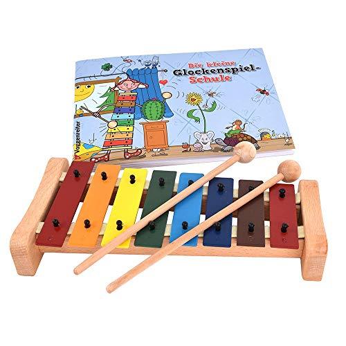 Das bunte Glockenspiel-Set von Voggenreiter Glockenspiel C-Dur mit Holzschlägel und Glockenspielschule (8 metallische  Klangplatten, diatonisch), bunt